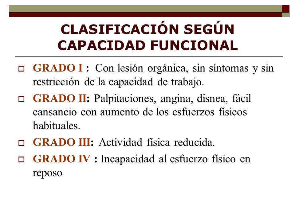 CLASIFICACIÓN SEGÚN CAPACIDAD FUNCIONAL