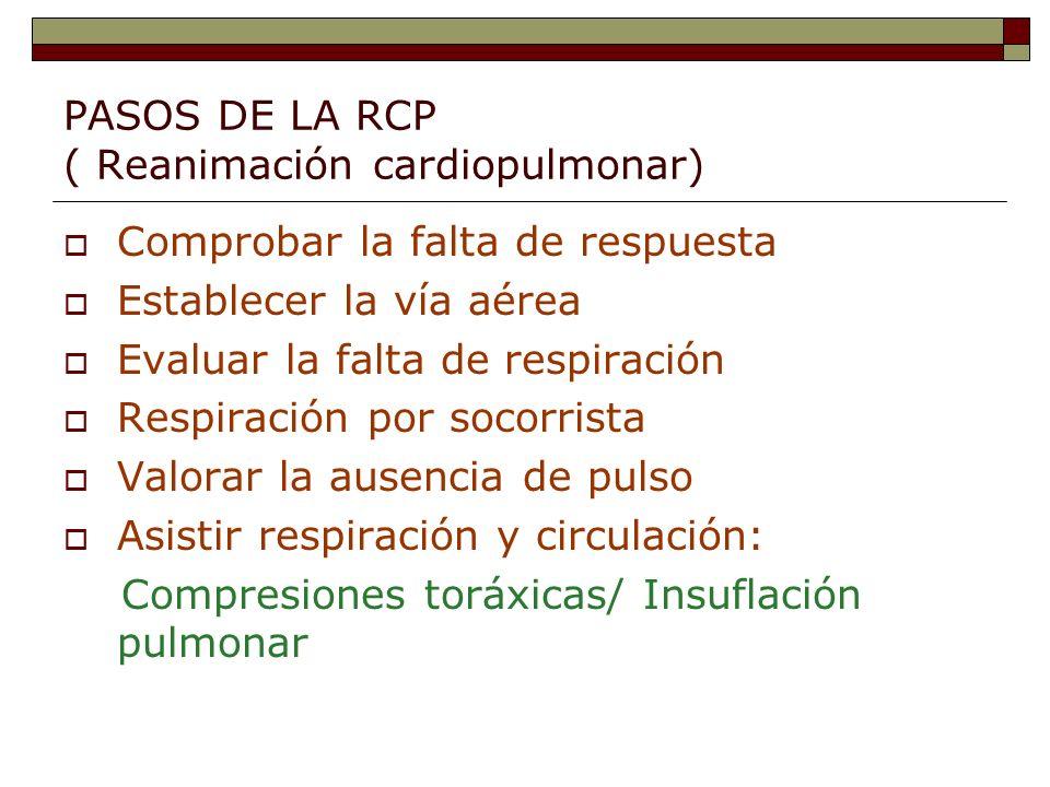 PASOS DE LA RCP ( Reanimación cardiopulmonar)