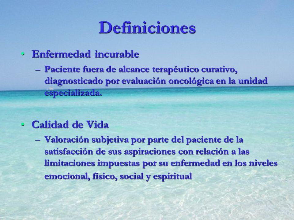 Definiciones Enfermedad incurable Calidad de Vida