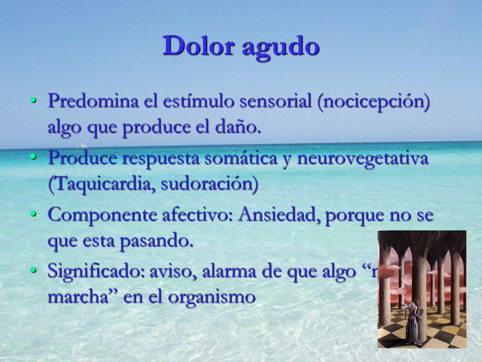 Dolor agudo Predomina el estímulo sensorial (nocicepción) algo que produce el daño.