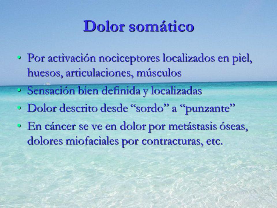 Dolor somático Por activación nociceptores localizados en piel, huesos, articulaciones, músculos. Sensación bien definida y localizadas.