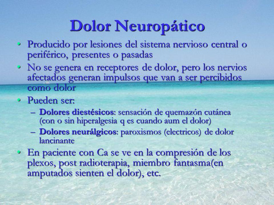 Dolor Neuropático Producido por lesiones del sistema nervioso central o periférico, presentes o pasadas.