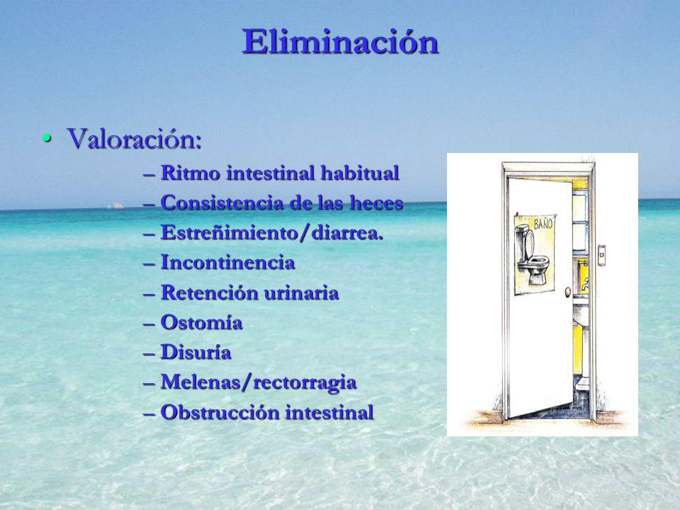 Eliminación Valoración: Ritmo intestinal habitual