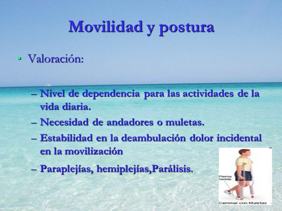 Movilidad y postura Valoración: