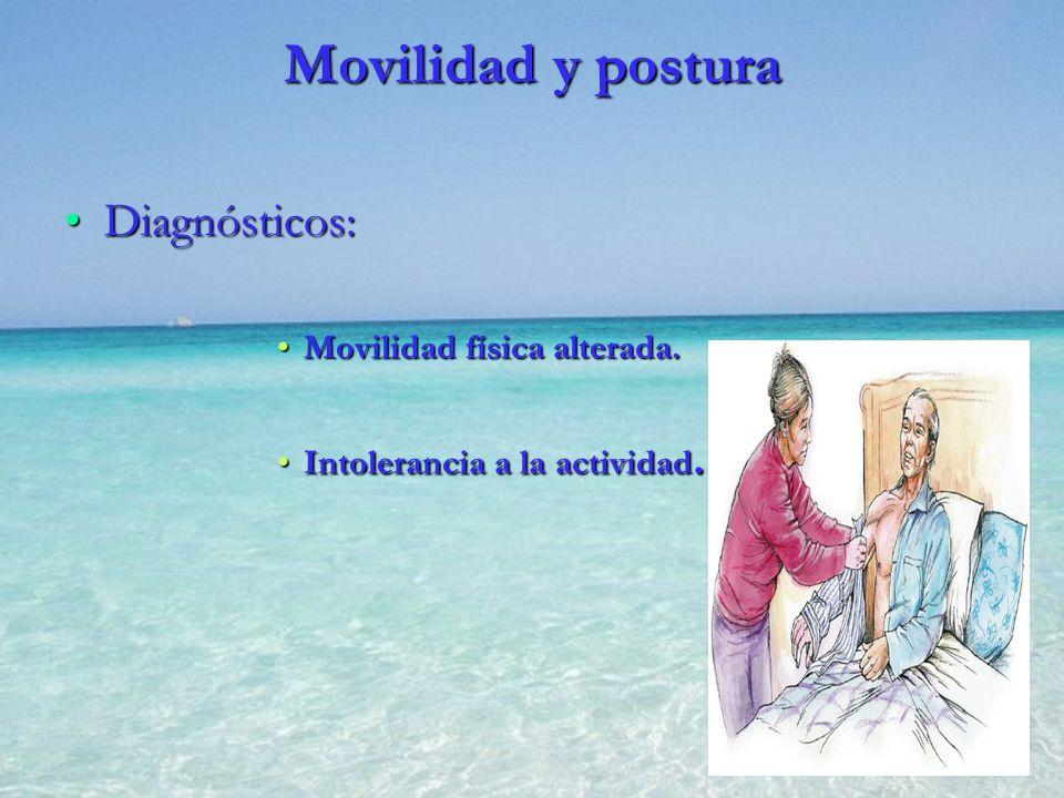 Movilidad y postura Diagnósticos: Movilidad física alterada.