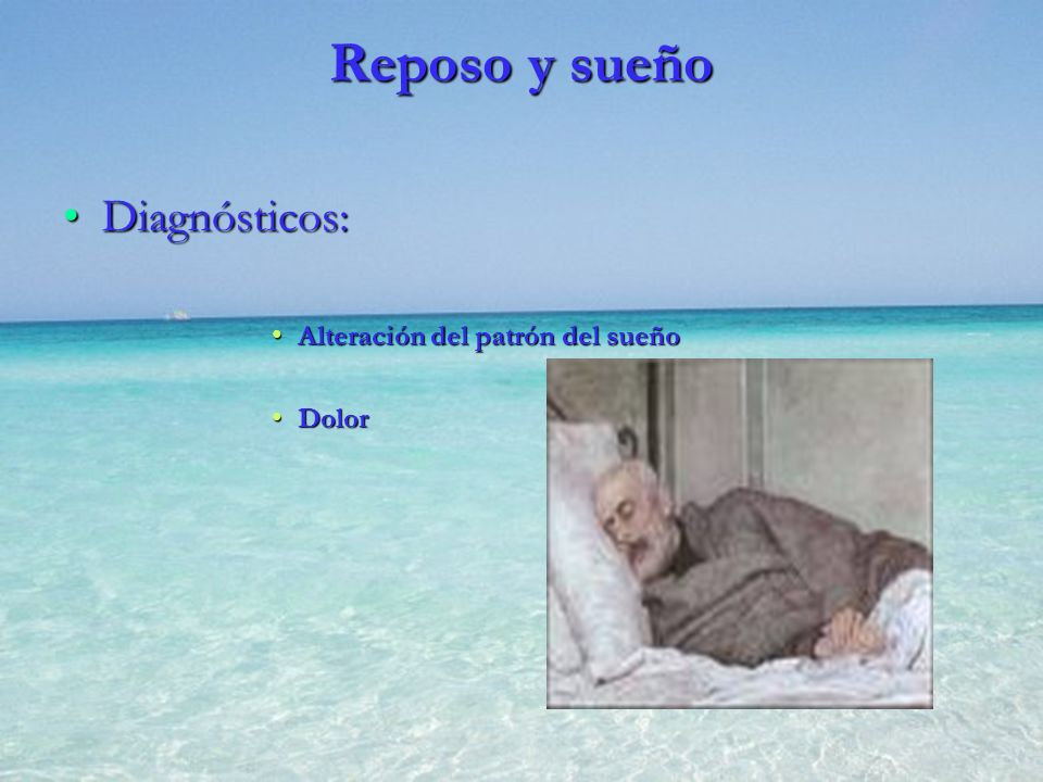 Reposo y sueño Diagnósticos: Alteración del patrón del sueño Dolor