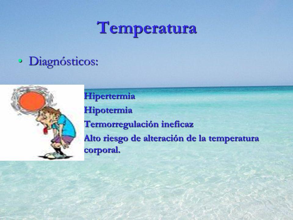 Temperatura Diagnósticos: Hipertermia Hipotermia