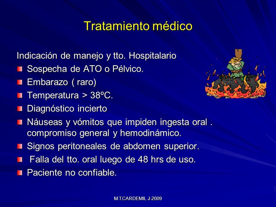 Tratamiento médico Indicación de manejo y tto. Hospitalario