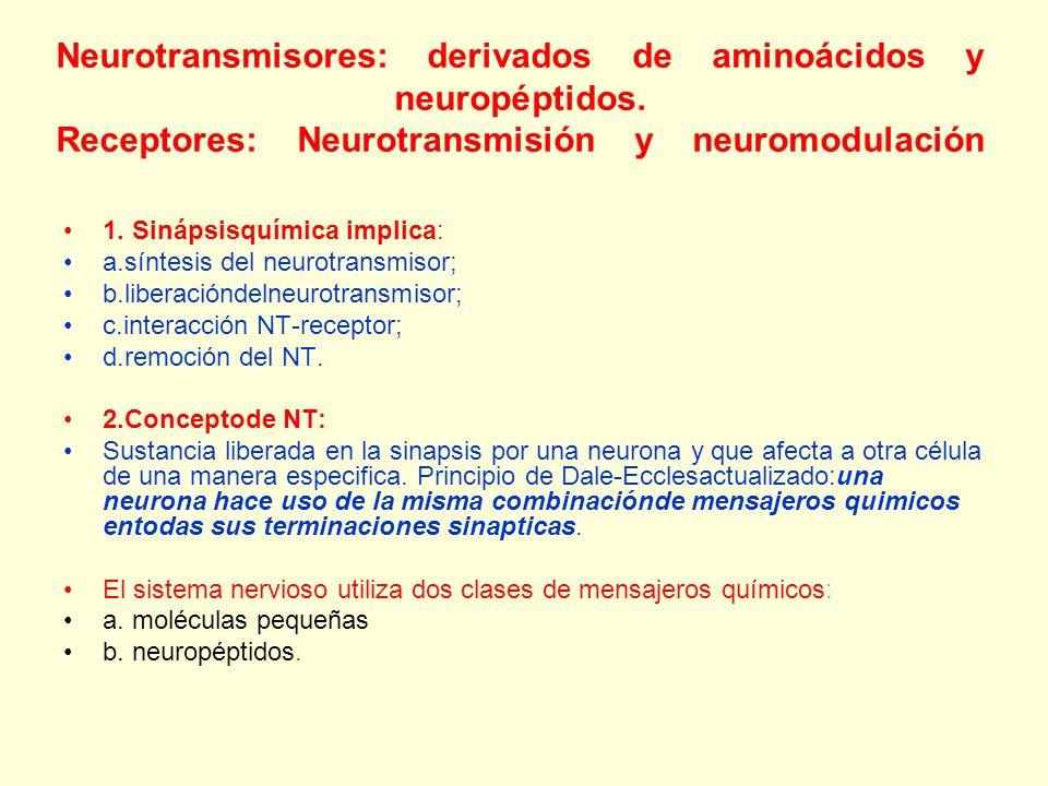 Neurotransmisores: derivados de aminoácidos y neuropéptidos