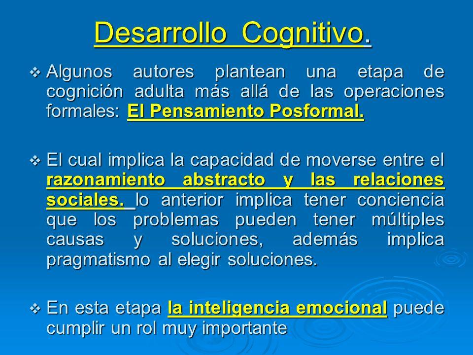 Desarrollo Cognitivo. Algunos autores plantean una etapa de cognición adulta más allá de las operaciones formales: El Pensamiento Posformal.