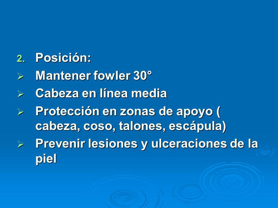 Posición: Mantener fowler 30° Cabeza en línea media. Protección en zonas de apoyo ( cabeza, coso, talones, escápula)