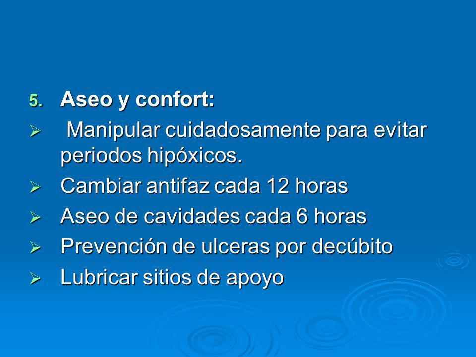 Aseo y confort: Manipular cuidadosamente para evitar periodos hipóxicos. Cambiar antifaz cada 12 horas.