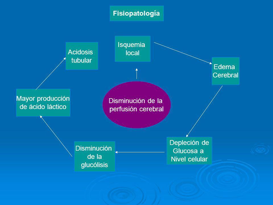 Fisiopatología Isquemia. local. Acidosis. tubular. Edema. Cerebral. Disminución de la. perfusión cerebral.