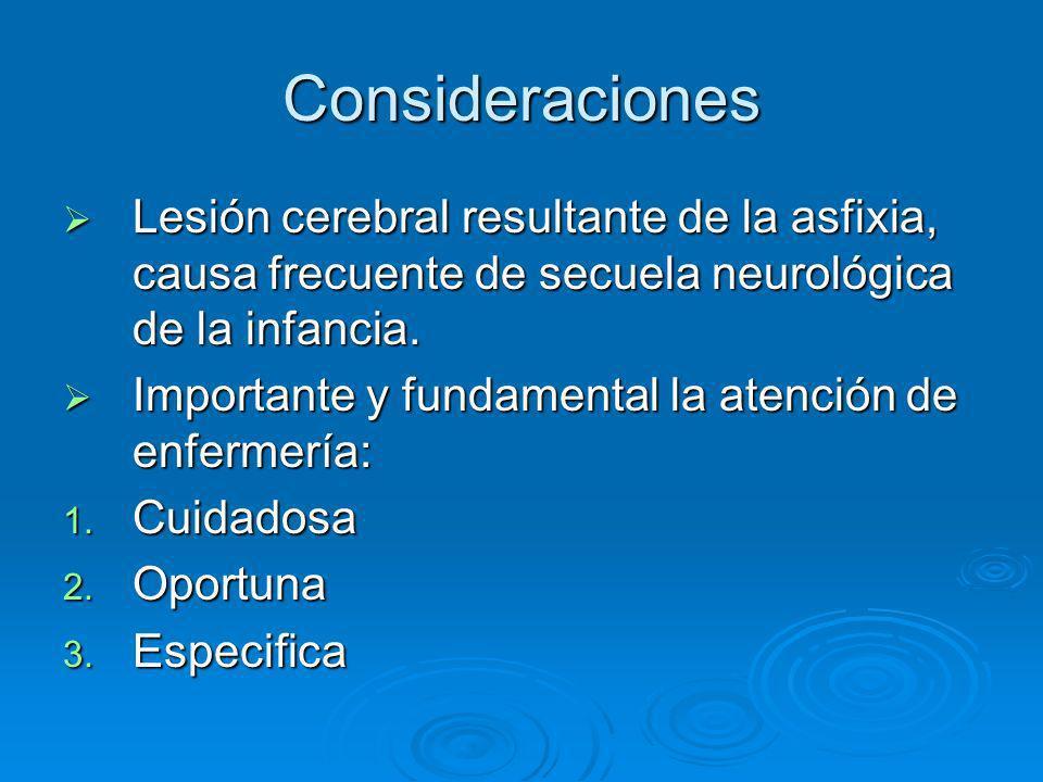 Consideraciones Lesión cerebral resultante de la asfixia, causa frecuente de secuela neurológica de la infancia.