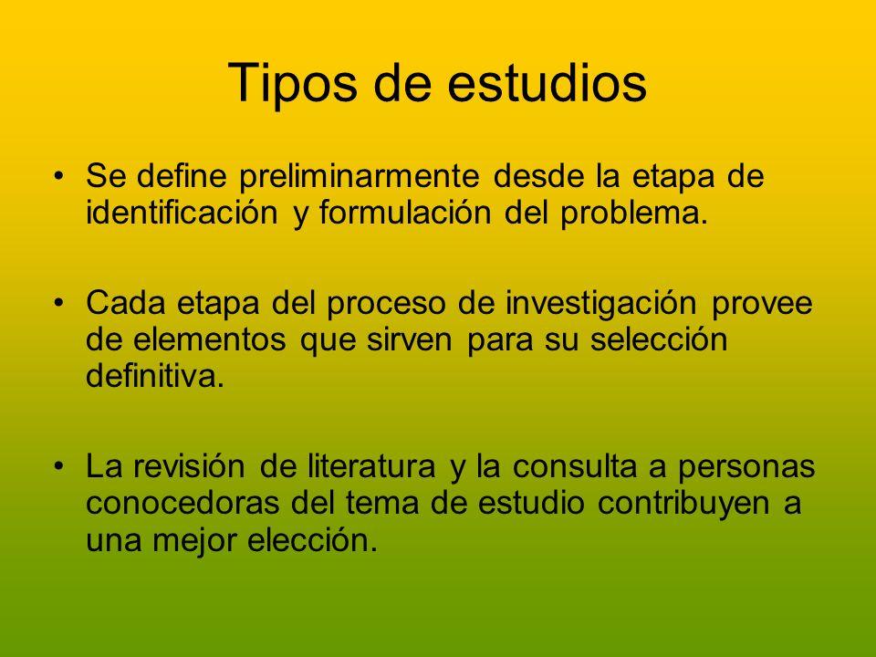Tipos de estudios Se define preliminarmente desde la etapa de identificación y formulación del problema.