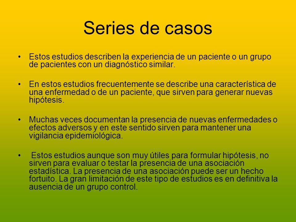 Series de casosEstos estudios describen la experiencia de un paciente o un grupo de pacientes con un diagnóstico similar.
