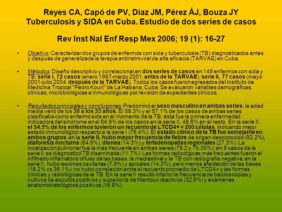 Reyes CA, Capó de PV, Díaz JM, Pérez ÁJ, Bouza JY Tuberculosis y SIDA en Cuba. Estudio de dos series de casos Rev Inst Nal Enf Resp Mex 2006; 19 (1): 16-27