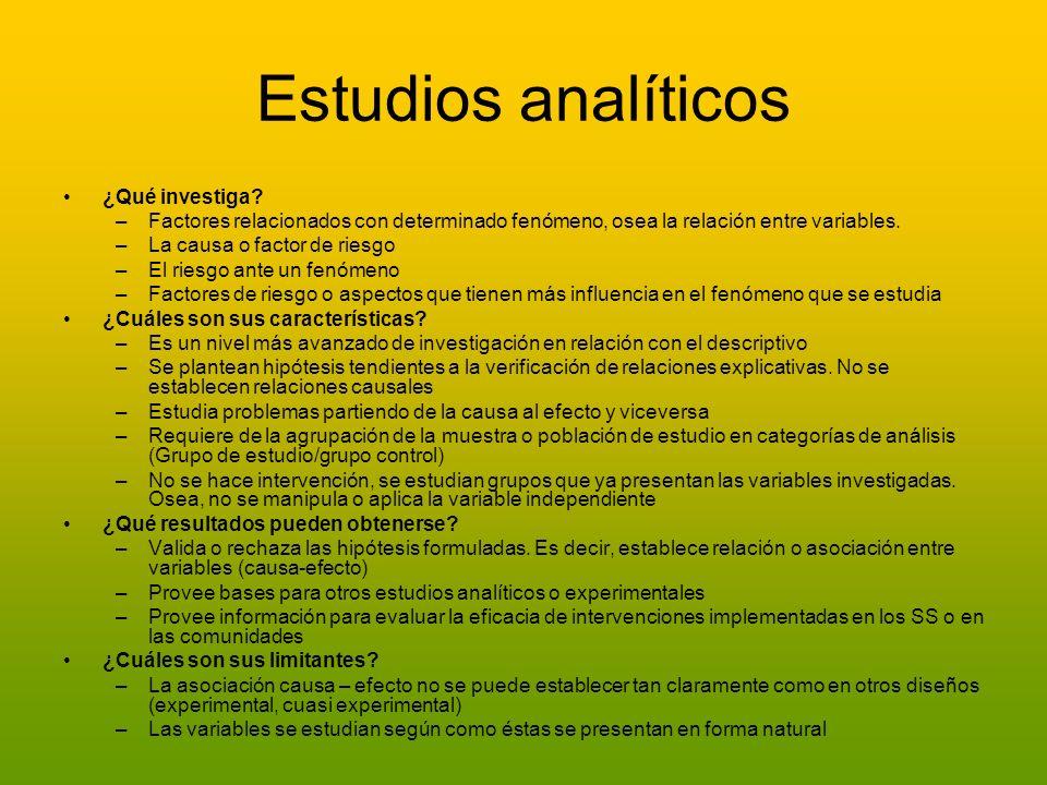 Estudios analíticos ¿Qué investiga