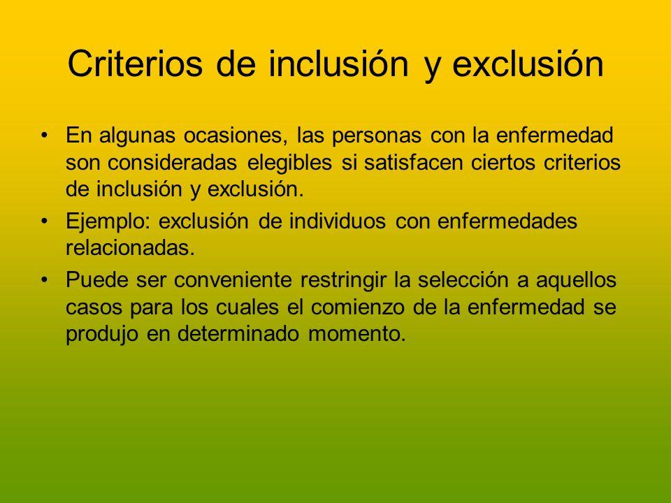 Criterios de inclusión y exclusión