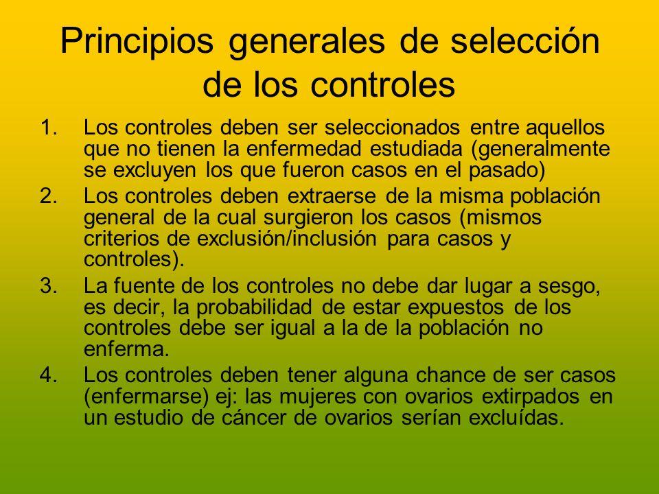 Principios generales de selección de los controles