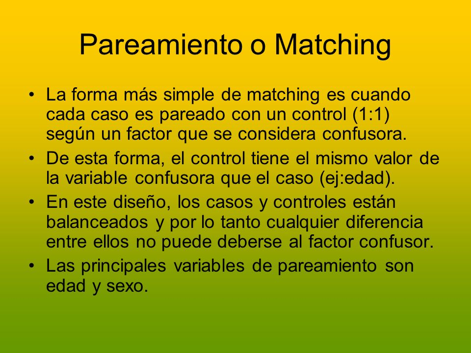 Pareamiento o Matching