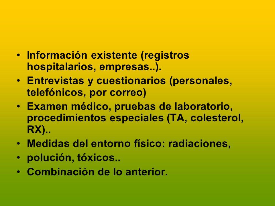 Información existente (registros hospitalarios, empresas..).