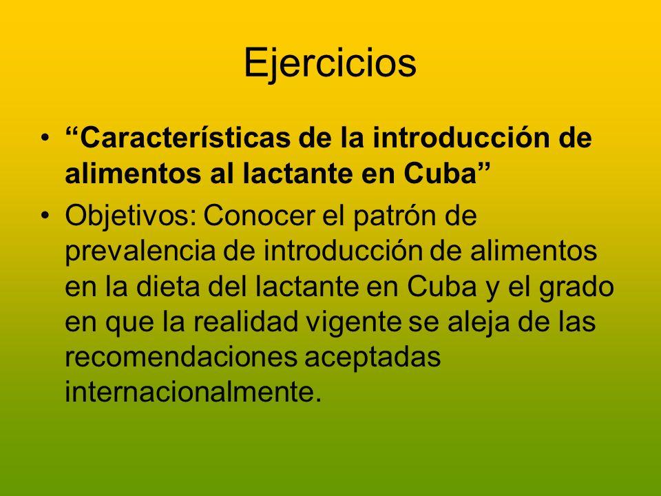 Ejercicios Características de la introducción de alimentos al lactante en Cuba