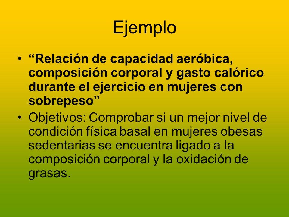 Ejemplo Relación de capacidad aeróbica, composición corporal y gasto calórico durante el ejercicio en mujeres con sobrepeso