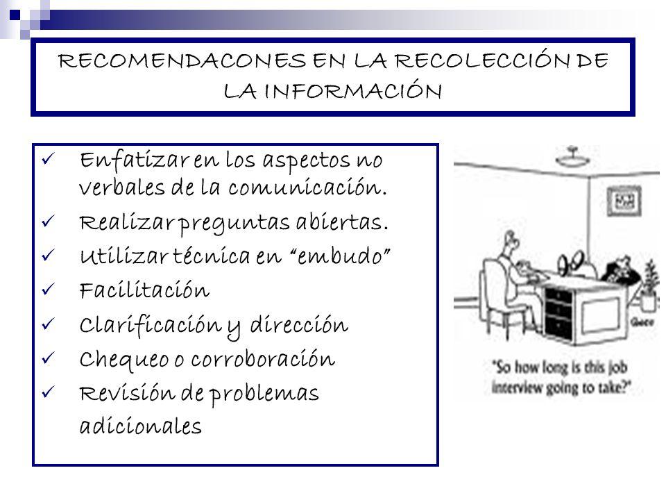 RECOMENDACONES EN LA RECOLECCIÓN DE LA INFORMACIÓN