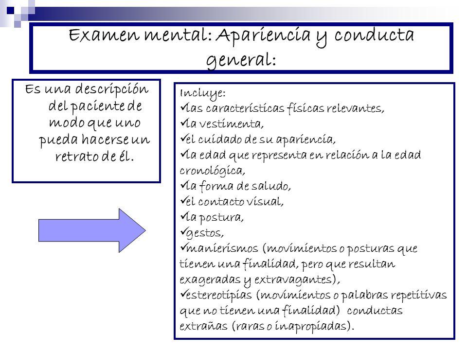 Examen mental: Apariencia y conducta general: