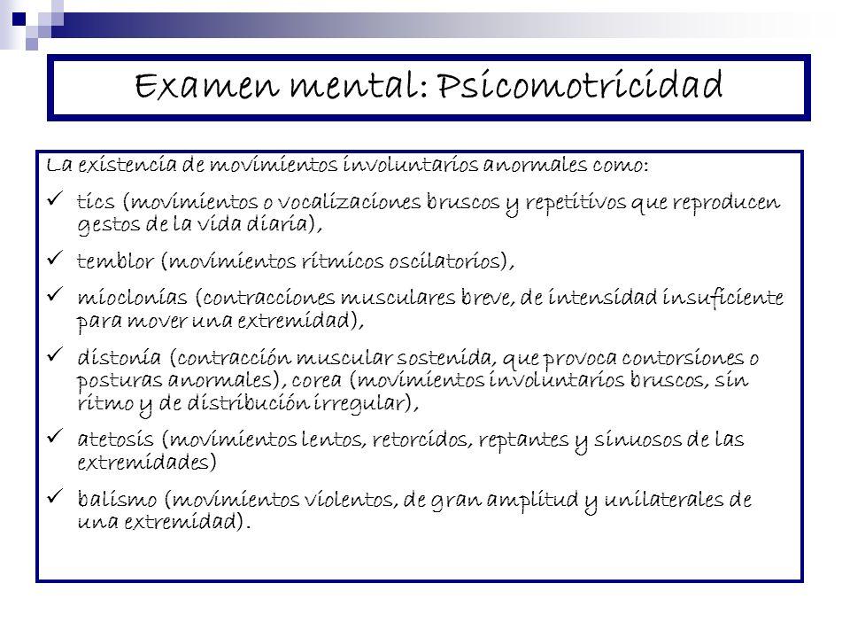 Examen mental: Psicomotricidad
