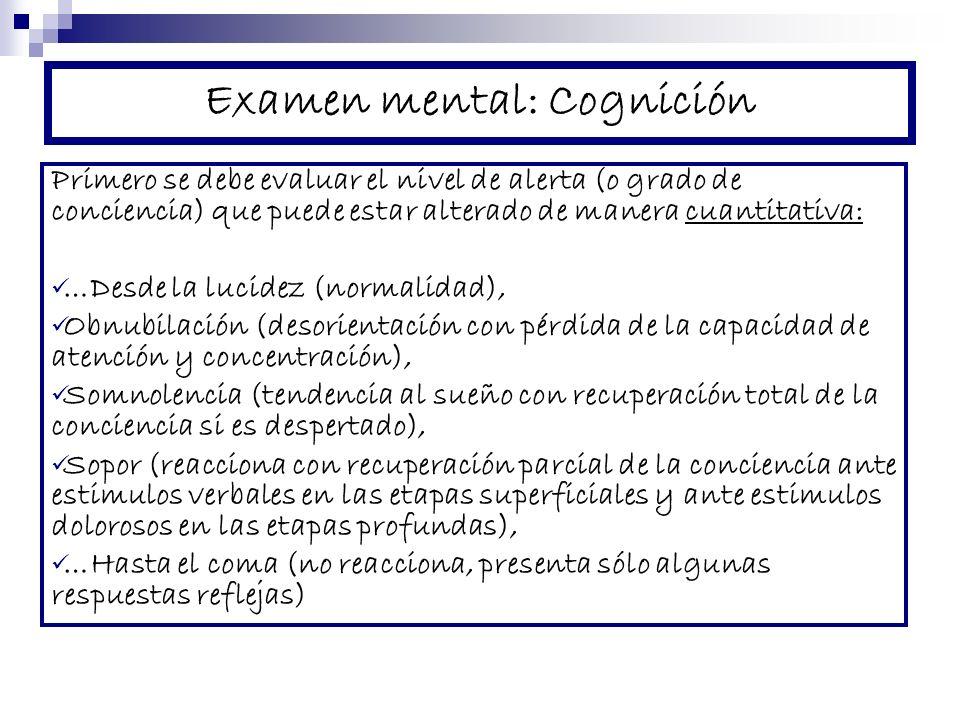 Examen mental: Cognición