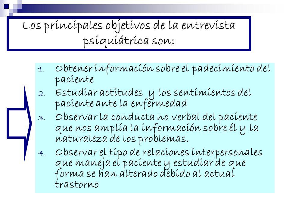 Los principales objetivos de la entrevista psiquiátrica son: