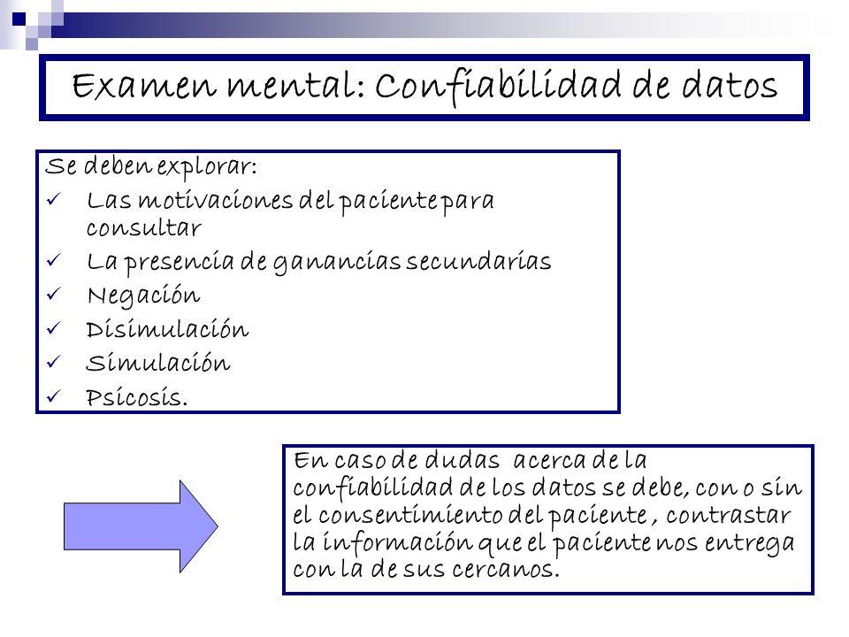 Examen mental: Confiabilidad de datos