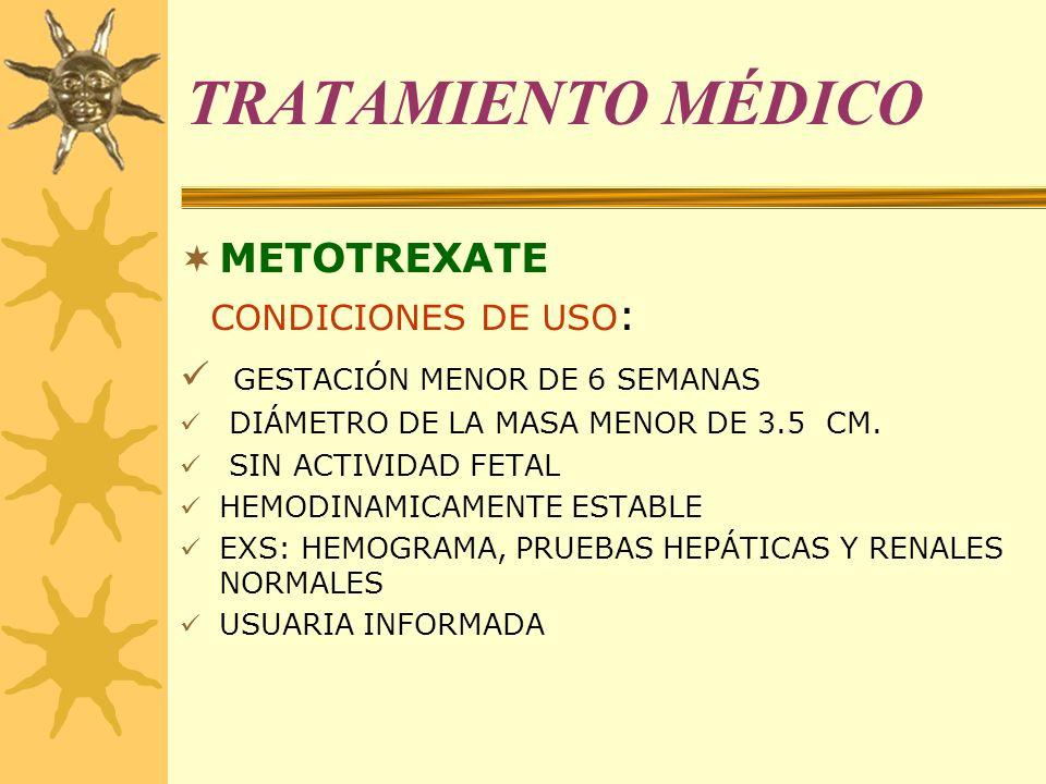 TRATAMIENTO MÉDICO METOTREXATE CONDICIONES DE USO: