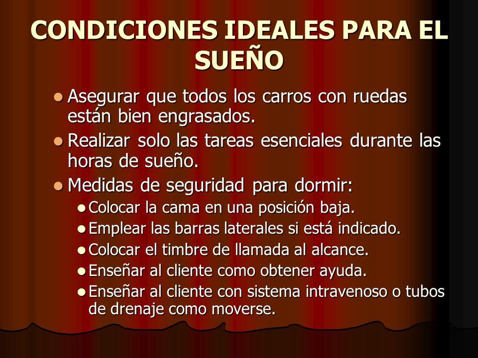CONDICIONES IDEALES PARA EL SUEÑO