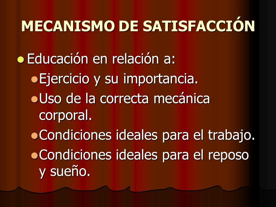 MECANISMO DE SATISFACCIÓN