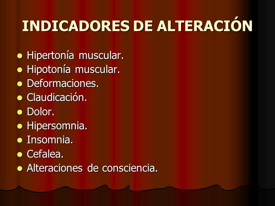 INDICADORES DE ALTERACIÓN