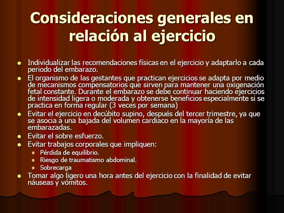Consideraciones generales en relación al ejercicio