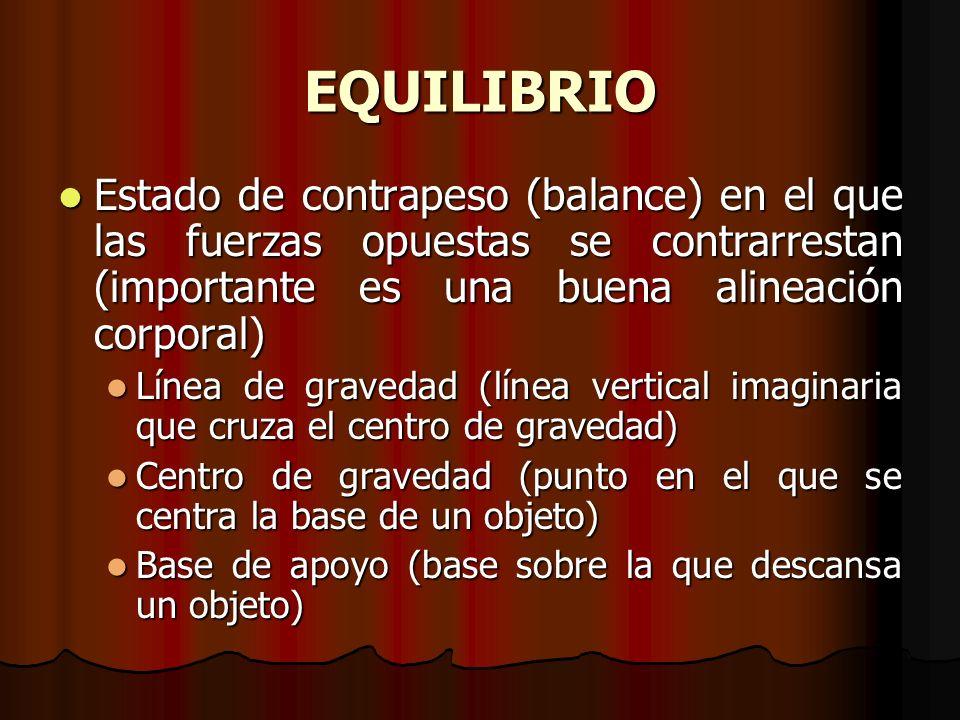 EQUILIBRIO Estado de contrapeso (balance) en el que las fuerzas opuestas se contrarrestan (importante es una buena alineación corporal)