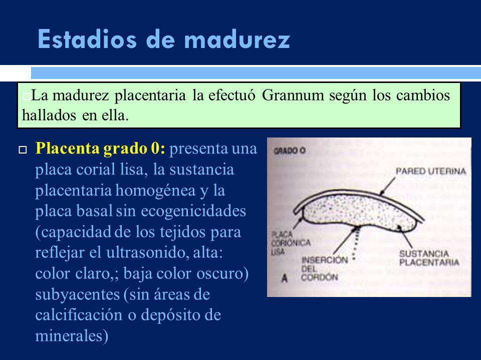 Estadios de madurez La madurez placentaria la efectuó Grannum según los cambios hallados en ella.