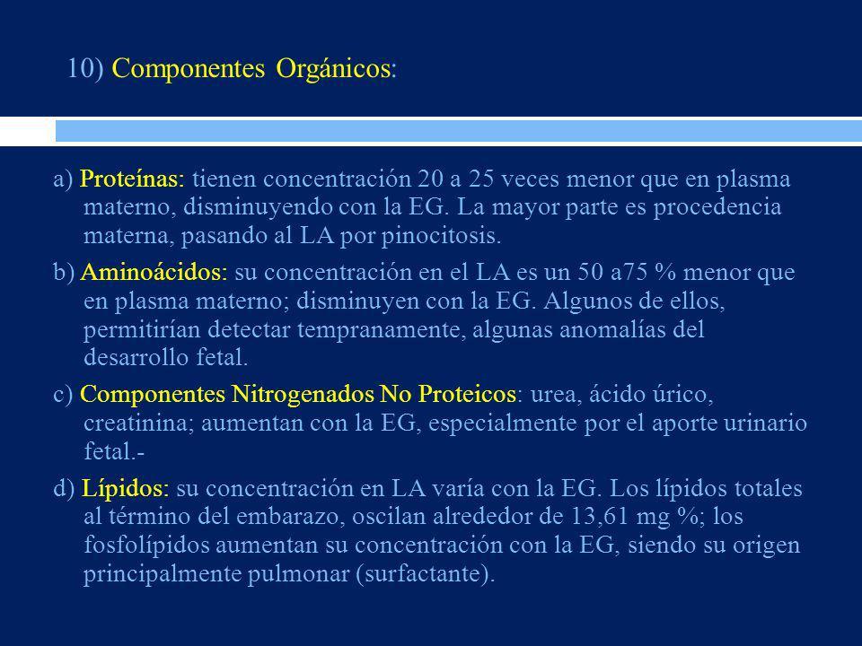 10) Componentes Orgánicos: