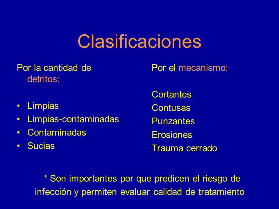 Clasificaciones * Son importantes por que predicen el riesgo de infección y permiten evaluar calidad de tratamiento
