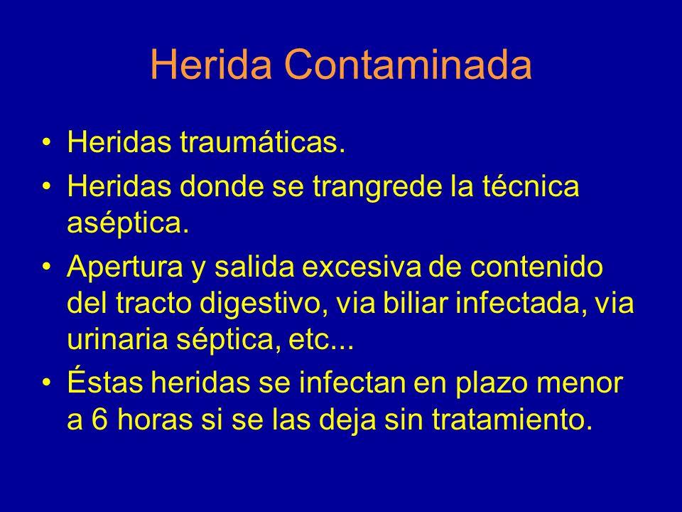 Herida Contaminada Heridas traumáticas.