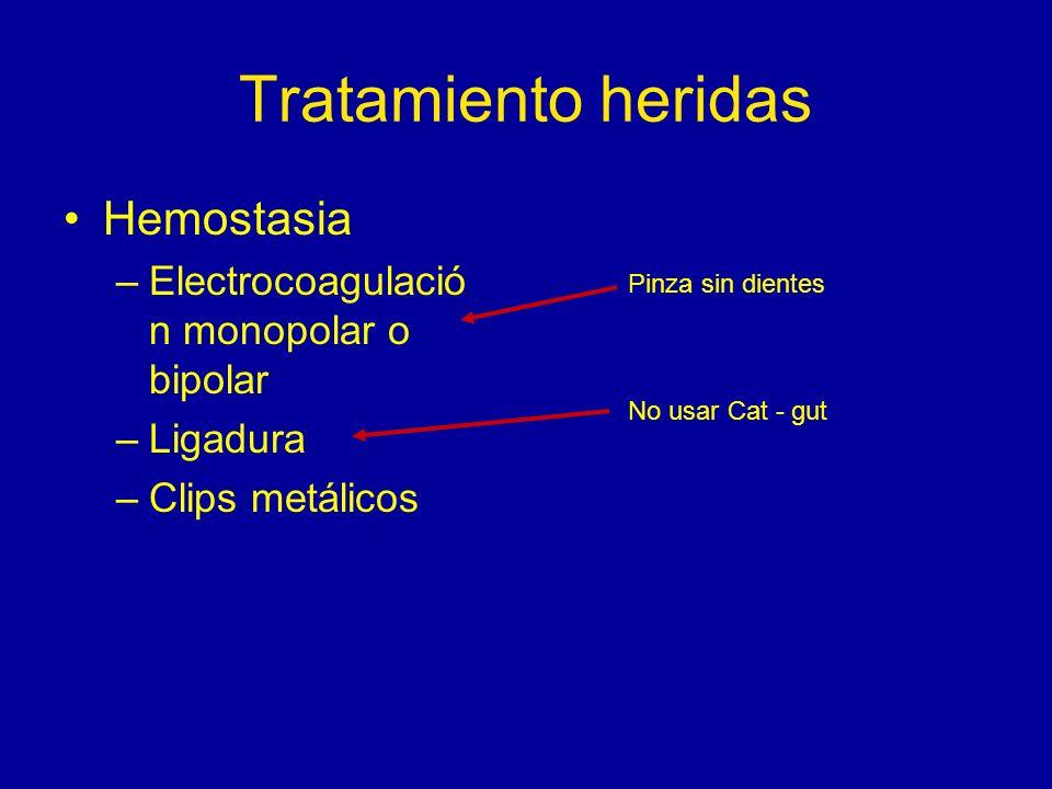 Tratamiento heridas Hemostasia Electrocoagulación monopolar o bipolar
