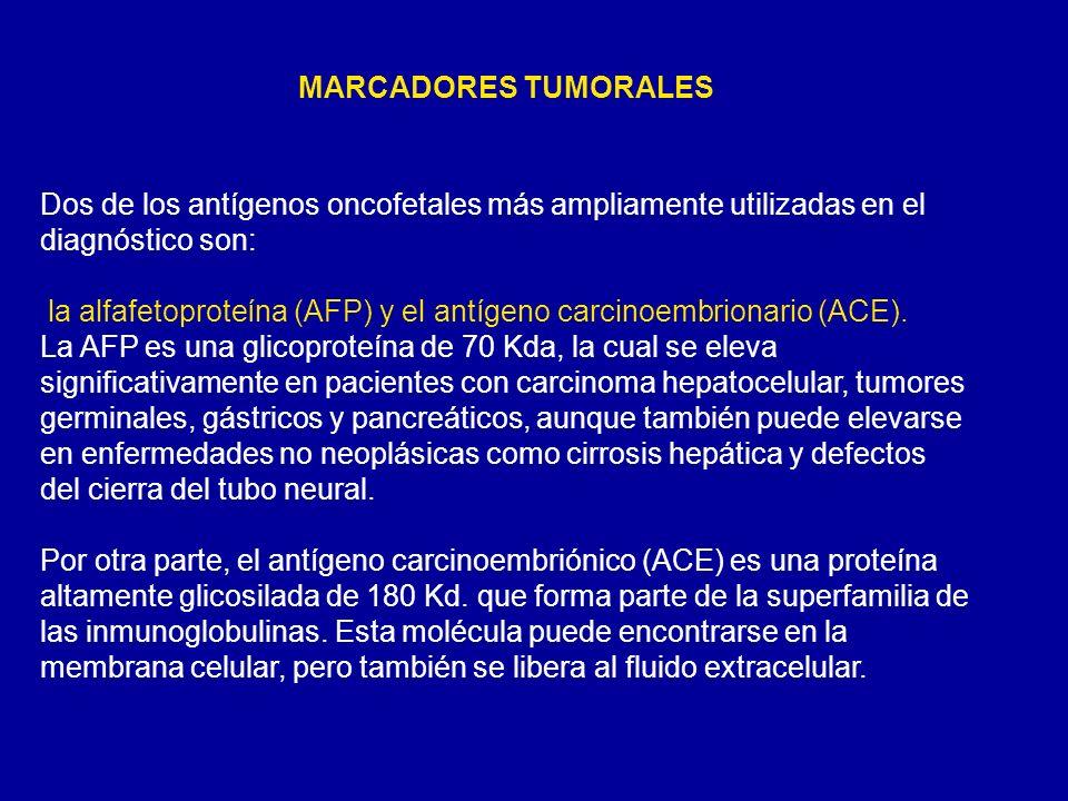 MARCADORES TUMORALES Dos de los antígenos oncofetales más ampliamente utilizadas en el diagnóstico son: