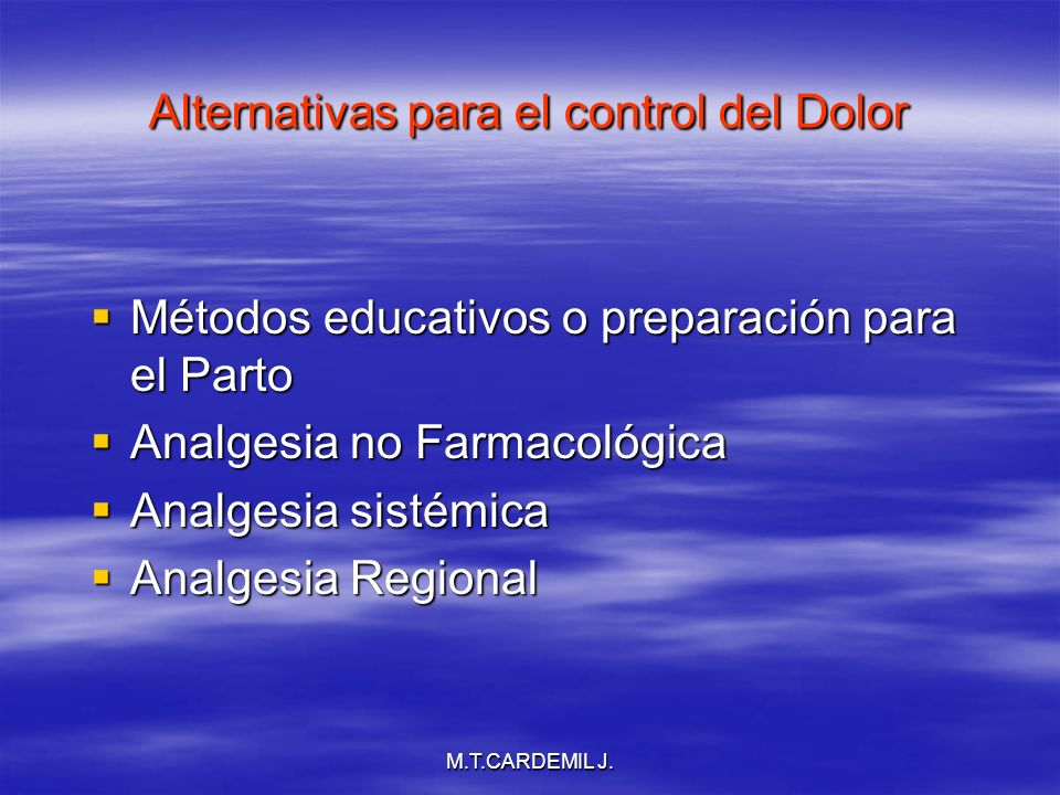 Alternativas para el control del Dolor