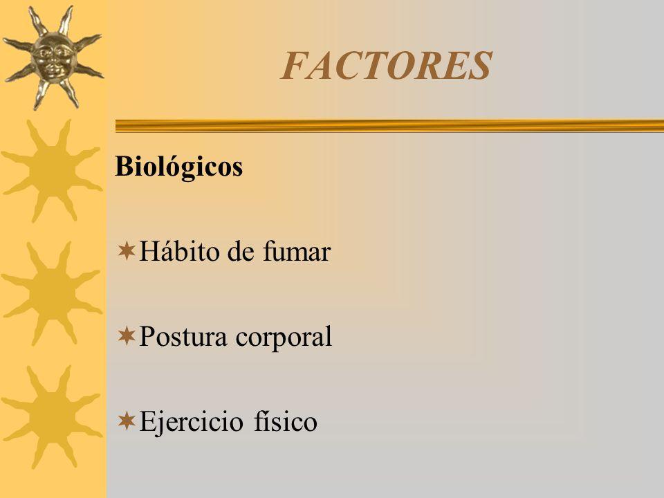 FACTORES Biológicos Hábito de fumar Postura corporal Ejercicio físico