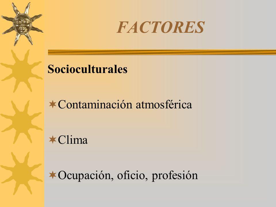 FACTORES Socioculturales Contaminación atmosférica Clima