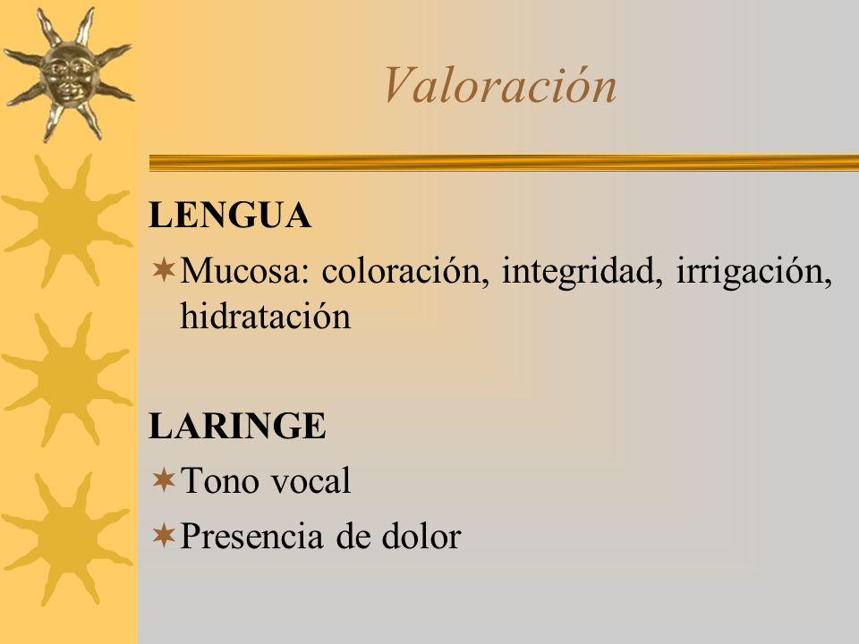 Valoración LENGUA. Mucosa: coloración, integridad, irrigación, hidratación. LARINGE. Tono vocal.